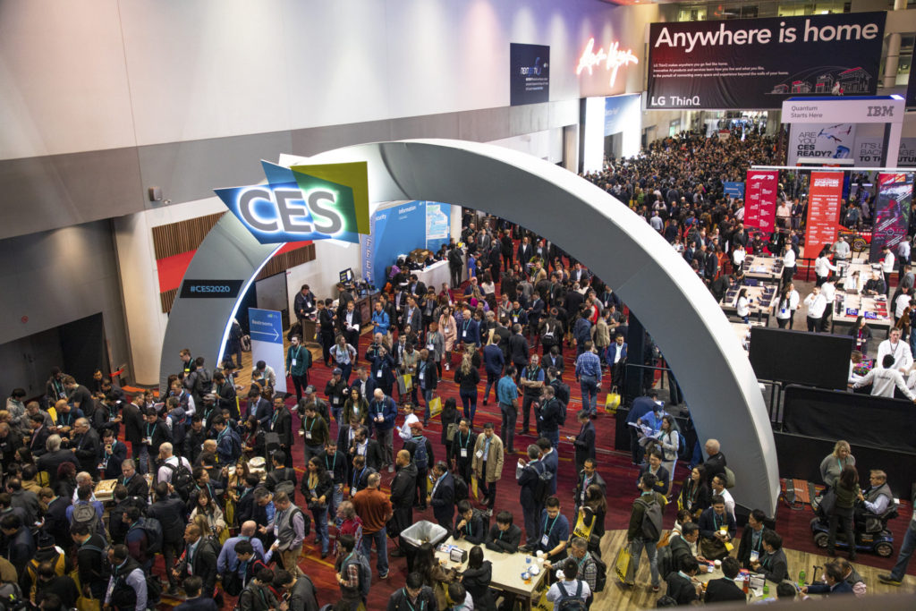 Overhead view of the CES 2020 trade show.