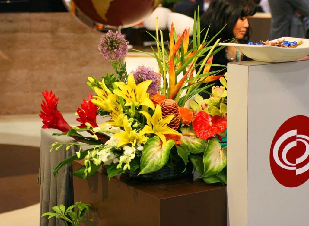 Brighten up your event with a flower arrangement.