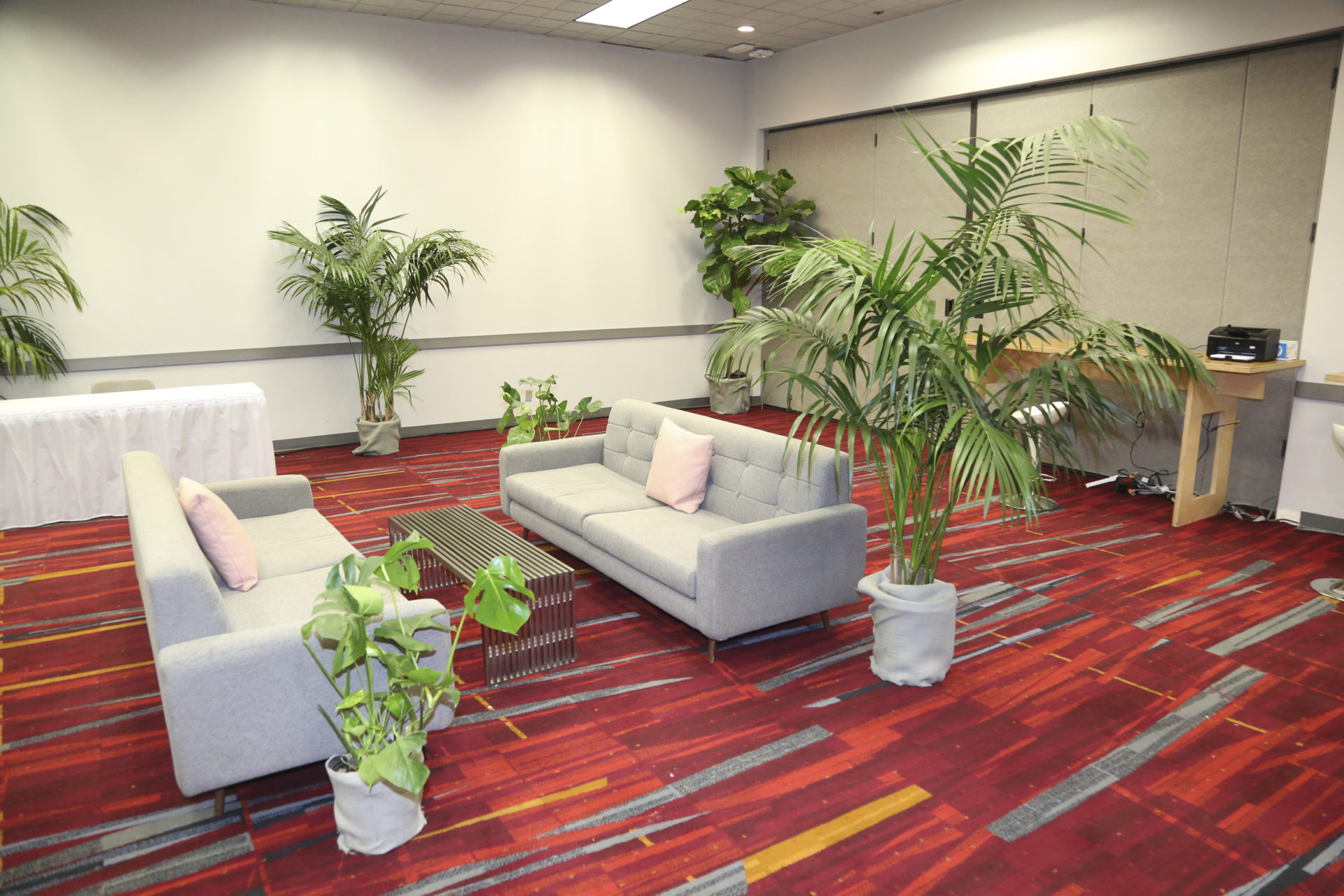 Liven up a trade show lounge with plant rentals.